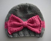 BABY / CHILDREN SIZE --- Vintage Looking Gray hat with Pink bow.
