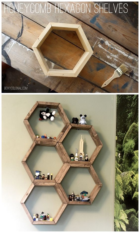 DIY Hexagon Honeycomb Shelves: Step by step tutorial with photos