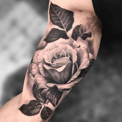 Black And White Bicep Tattoo Ideas Best Inner Bicep Tattoos For Men Cool Inside Arm Bicep Tattoo Designs Bicep Tattoo Inner Bicep Tattoo White Rose Tattoos
