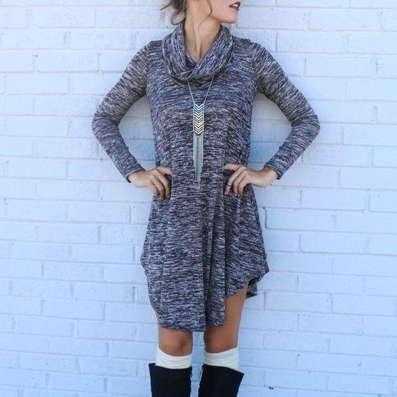 Gray High Neck Side Split Midi Dress