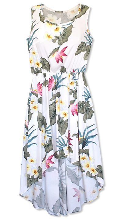 orchid play white lehua hawaiian dress @Lavahut  Hawaiian Dresses ...