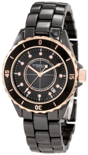 Stuhrling Original Unisex 374.13OB114 Nirvana Quartz Date Black Rosetone Bezel Ceramic Watch