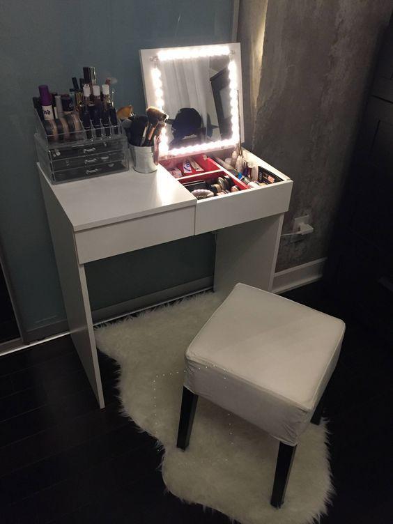 makeup vanity for small space.  How to DIY Your Dream Vanity Diy vanity Vintage and Vanities