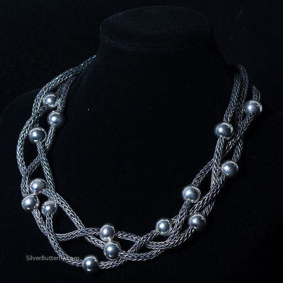 Sterling Silver - Braided Rope Necklace with Balls