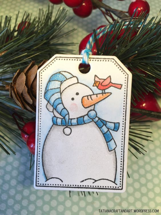 Christmas watercolor #handmade tags. Used #newtonsnook Jolly Tags stamps and dies. Please see more at http://wp.me/p4J7Fn-mJ