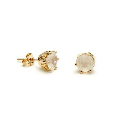 Solitaire Stud Earrings (Medium) - Yellow Gold, Rainbow Moonstone & Champagne Diamond by Anna Sheffield ||  Perfect Modern Earring for Bridesmaids  ||  Follow @KWHBridal