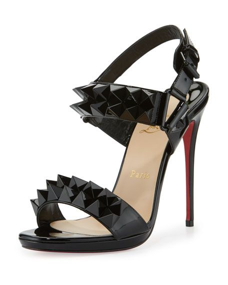 Christian Louboutin Miziggoo Spiked 120mm Red Sole Sandal, Black