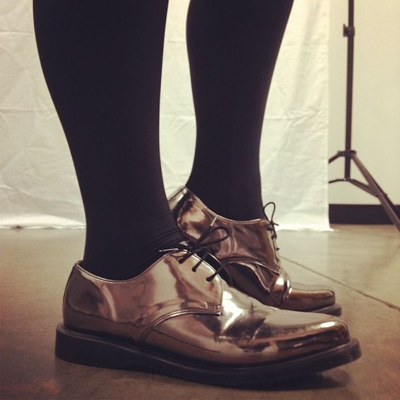 First on the foot in the new office! So fancy, just like these pewter Dr. Martens Tanner brogues!