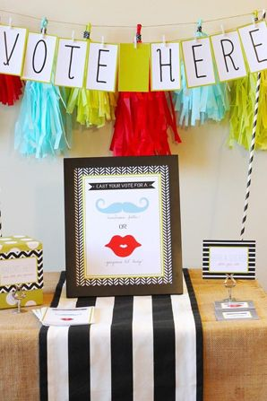 Gender Reveal Party Ideas....maybe a lips pin or mustache pin and they wear it at the party as their vote?