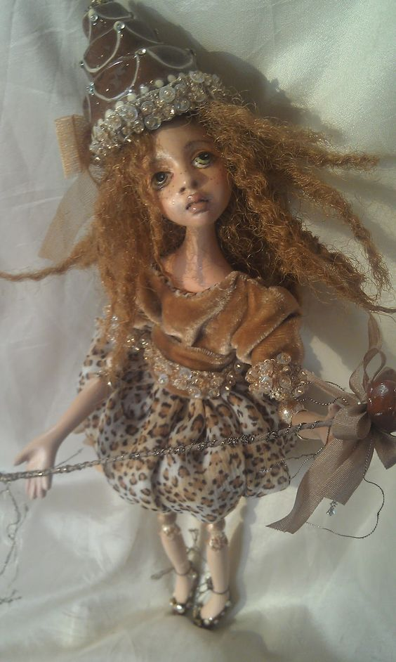 """Sweet little art doll ~ """"Cocoa Carmel"""" by Colleen on A Dollmaking Journey"""