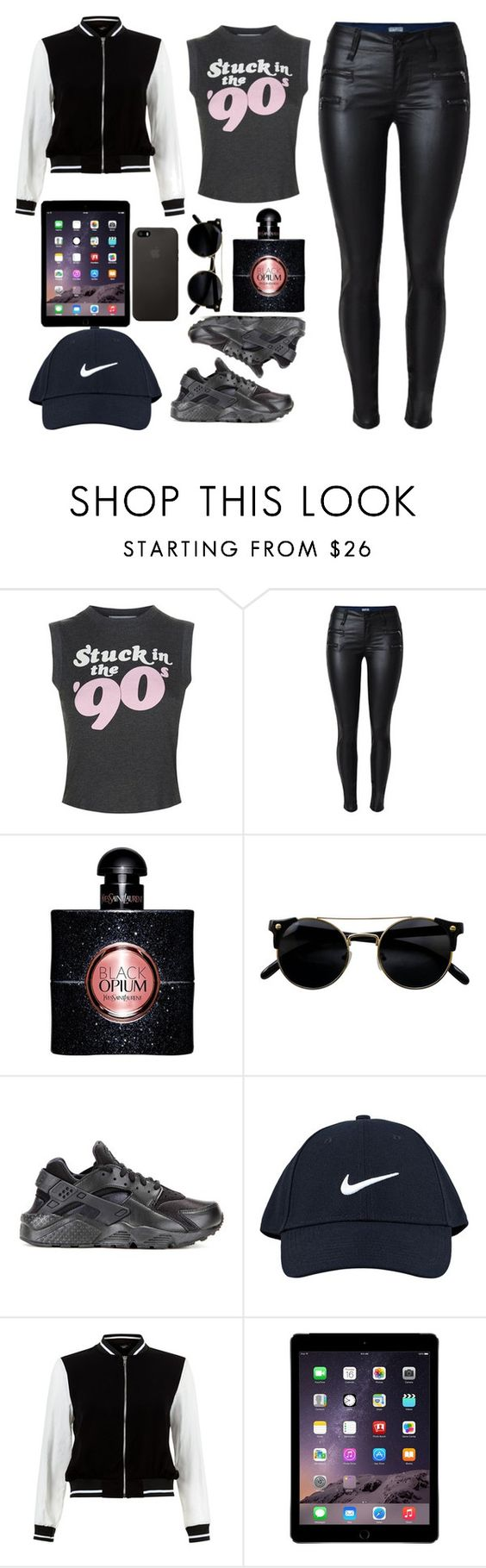 """Untitled #36"" by bonbonkabengele ❤ liked on Polyvore featuring Wildfox, Yves Saint Laurent, NIKE and New Look"