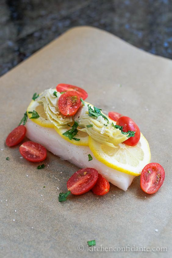 Halibut with Artichoke and Tomato