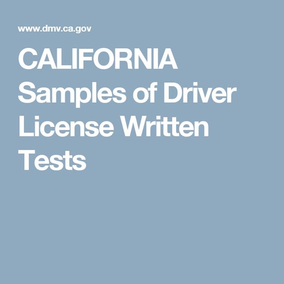 CALIFORNIA Samples of Driver License Written Tests