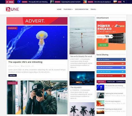 Download Premium Theme Blossomtheme Zune Blogger Blogspot Template Gratis Responsive Seo Friendly Keren Kreatif Wordpress