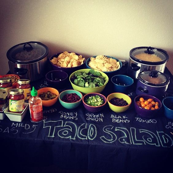 taco salad bar idea - chalkboard paint a 4'x8' sheet of plywood and create your own buffet serving table!