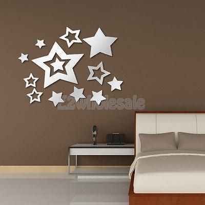 Mirror Removable Star Decal Art Mural Wall Sticker Home DIY Decor Silver