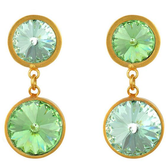 V BY VALKENIERS Double Swarovski Ear Clips - Gold/Pale Green ($235) ❤ liked on Polyvore featuring jewelry, earrings, swarovski crystal earrings, gold jewelry, gold jewellery, clip back earrings and gold drop earrings