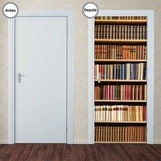 Adesivo Decorativo de Porta - Estante de Livros - 009pt