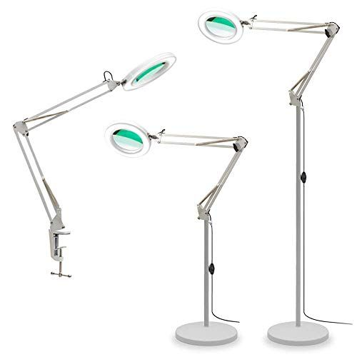 Special Offers Tomsoo 3 In 1 Magnifying Glass Floor Lamp With Clamp White Warm White Lighted Magnifier Lens Adjustabl In 2020 Glass Floor Lamp Lamp Glass Desk Lamps