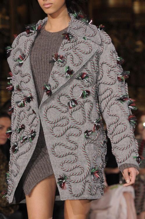 Tassel effect from @StellaMcCartney #AW14 outerwear #PFW