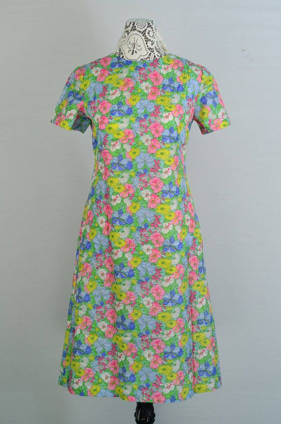 1960s Floral Satin Day Dress  Medium by 86CharlotteStreet on Etsy, $49.99