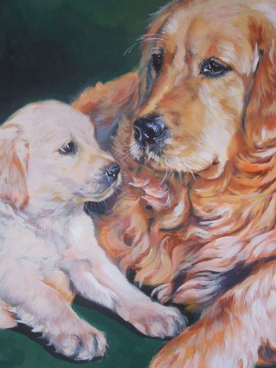 Golden Retriever art print CANVAS print of LA Shepard painting 12x16 dog art-Love how this captures the souls of the puppy and the Mom.