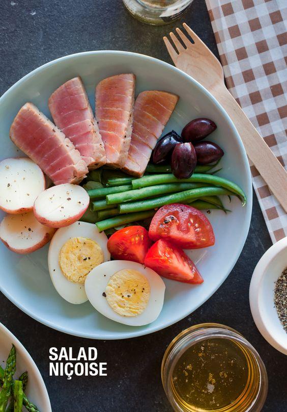 salad, nicoise...with seared tuna! yum!