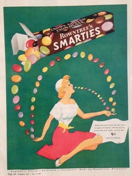 VINTAGE SMARTIES CHOCOLATE SWEETS ADVERTISING A2 POSTER PRINT