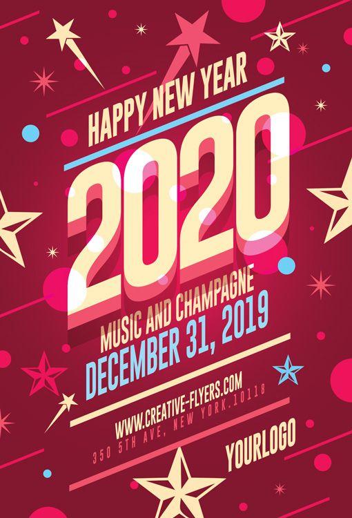 New Year Card Template Photohop Psd Creative Flyers New Year Card Card Template Card Templates