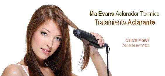 http://www.maevansblog.com/2012/01/03/ma-evans-aclarador-termico-preguntas-frecuentes/    Ma Evans Aclarador Térmico es un tratamiento capilar profesional que le proporciona al cabello un aclarado gradual y duradero activándose por medio del calor, con resultados visibles desde la primera aplicación
