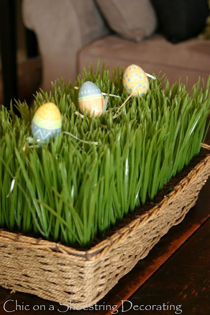 Easter egg spring decor at www.chiconashoestringdecorating.blogspot.com