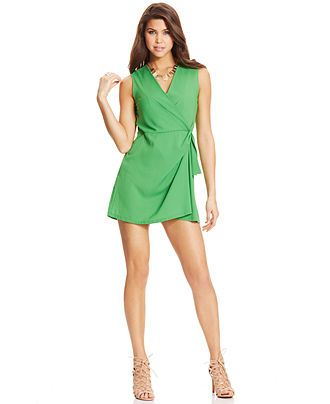 XOXO Sleeveless Wrap Romper - Juniors Jumpsuits & Rompers - Macy's ...