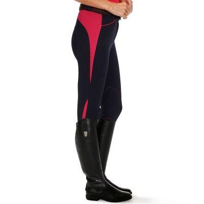 Abbigliamento equitazione Equitazione - Pantaloni equitazione donna blu/rosso FOUGANZA - Abbigliamento cavaliere