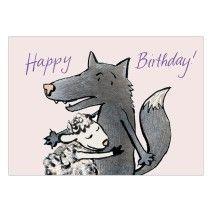 Happy Birthday! Schöne Geburtstagskarte mit Wolf und Schaf