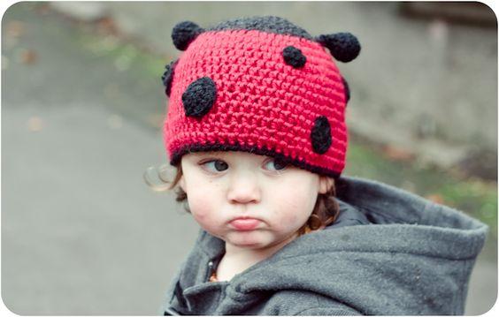 Lady bug crochet hat.  Free pattern.
