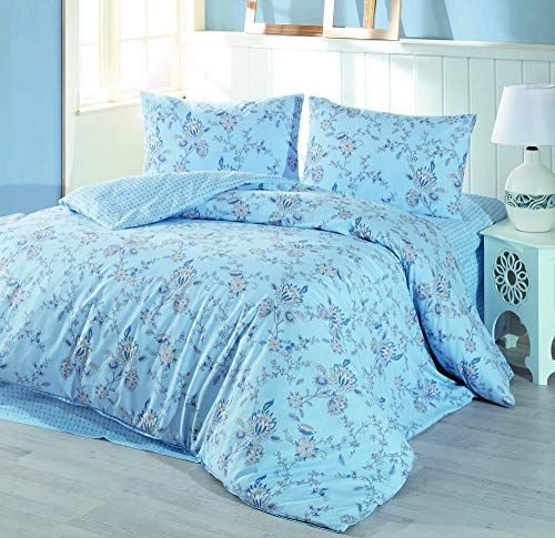 Dose Of Modern Flo Blue Ranforce Single Quilt Cover Set 153mcl2155 Blue White Grey Quilt Cover Sets Single Quilt Quilt Cover
