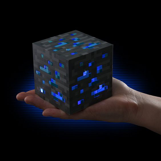 Minecraft Light-Up Diamond Ore / Minecraft fans can now be relieved from the turmoils of nocturnal monsters with this stunning piece of Minecraft Light-Up Diamond Ore. http://thegadgetflow.com/portfolio/minecraft-light-up-diamond-ore/