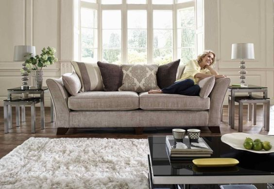 3 Seater Classic Back Sofa Annalise Upholstered