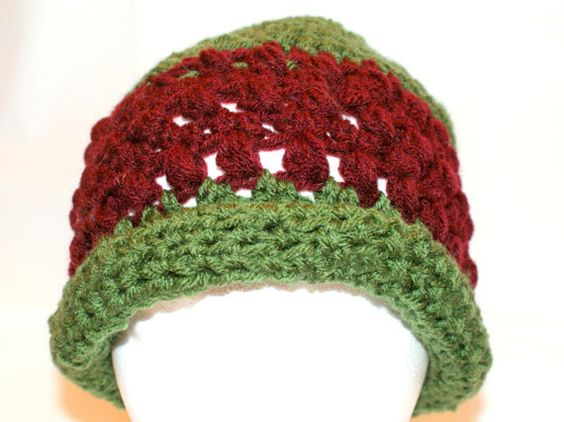 Womens Crochet Green Hat Rolled Brim Hat Hip Fashion by lanacooper,
