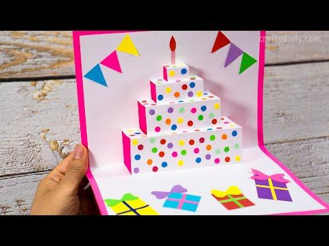 Diy Birthday Cake Pop Up Card Easy Pop Up Card Tutorials Craft For Kids Youtube Easy Birthday Cards Diy Birthday Card Craft Happy Birthday Cards Diy