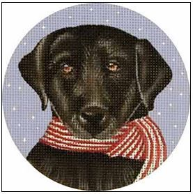 click here to view larger image of Black Lab Ornament (hand painted canvases)