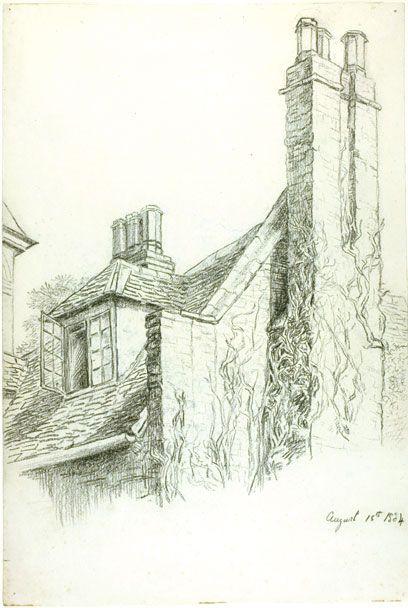 Beatrix Potter, Bush Hall, 1884   Um dos desenhos que inspiraram o The Big Green Book de Maurice Sendak