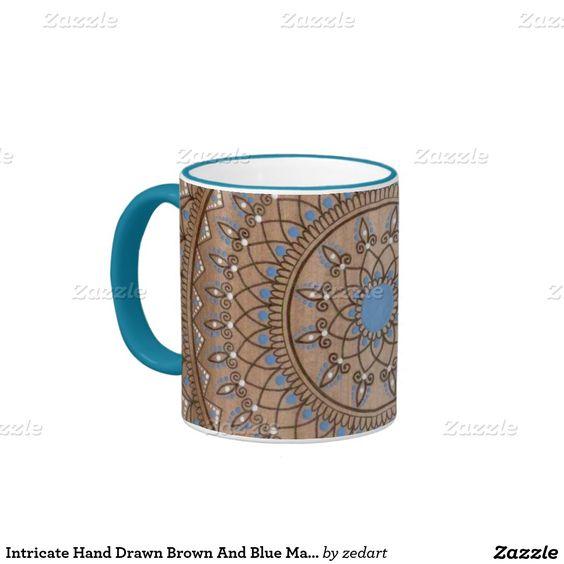 Intricate Hand Drawn Brown And Blue Mandala Ringer Coffee Mug