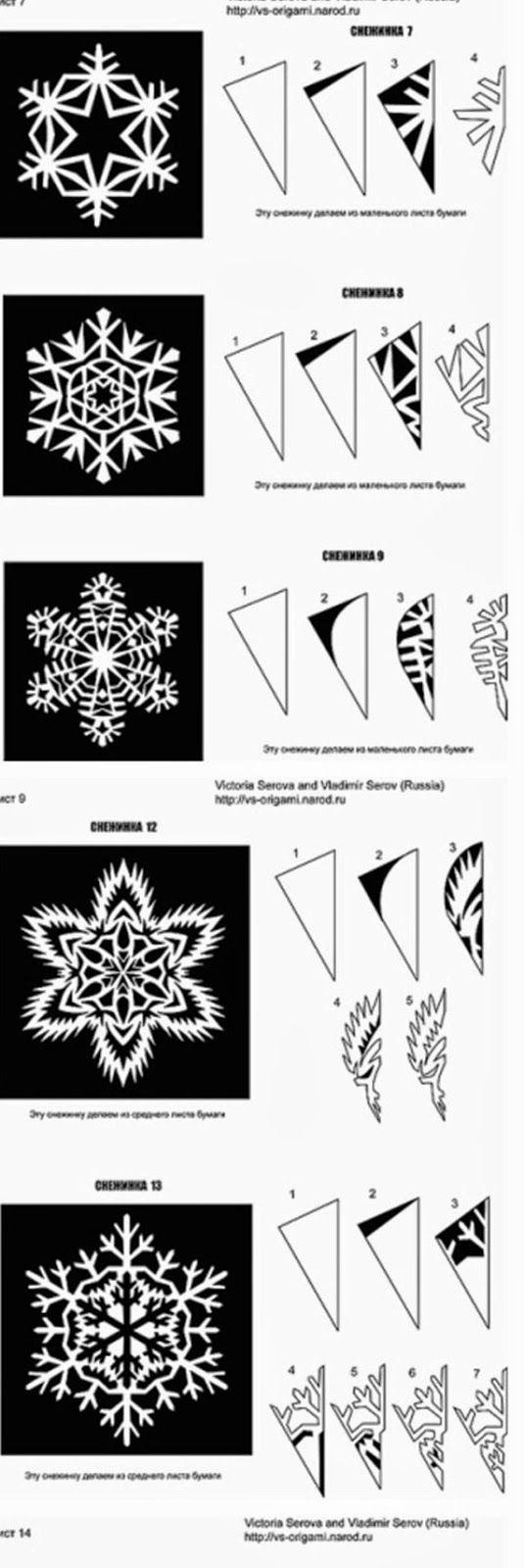 Tutorial para hacer bellos copos de nieve, de papel. Con Plantillas.: