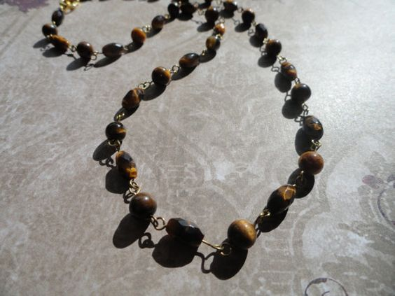 Tigers Eye Faceted Gemstone Necklace by RuthsJewelryDesigns