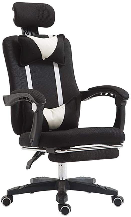 Reclining Net Office Chair Adjustable Head Pillow Lumbar Pillow Rotating Lift Ergonomics Linked Handrail Meeting In 2020 Lounge Chair Bedroom Office Chair Head Pillow