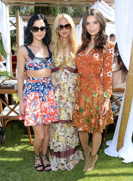 Coachella Cliques   Spring festival style   Leigh Lezark, Rachel Zoe, and Emily Ratajakowsi in floral dresses