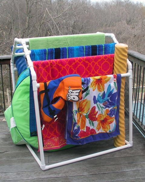 Instead of letting kids hang their towels along your porch railing (what an eyesore), build a tiered organizer(or buy this one) that can hold several atonce and, when positioned in the sun, will help towelsdry faster, too. Get the tutorial at eHow »
