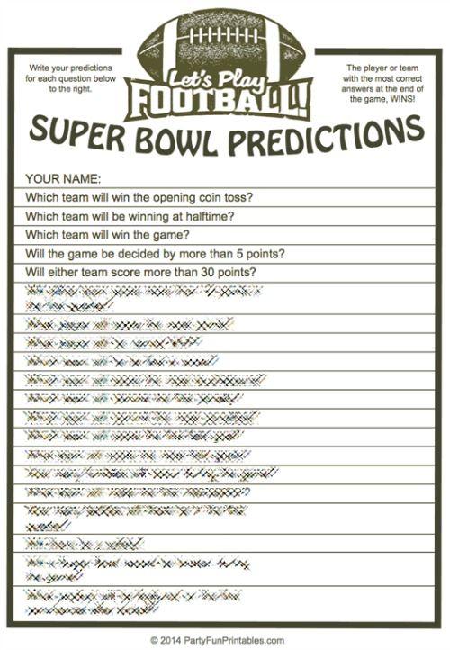 Fun Prop Bets Sheet Printable Templates & Questions