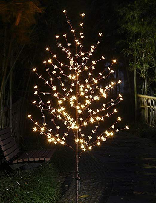 Lightshare 6 Feet Cherry Blossom Lighted Tree 208 Led Lights Warm White For Chris Outdoor Christmas Lights Cherry Blossom Light Tree Christmas Tree Lighting